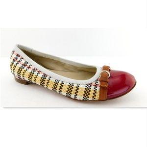AGL Woven Cherry Patent Cap Toe Ballet Flats 40